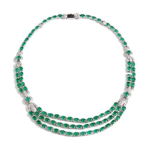 Estate 4.33ct Pave Diamond Sterling Silver Emerald Gemstone Princess Necklace NEW !!