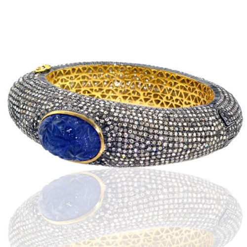 Pave Diamond Silver Tanzanite Women Bangle Carving Jewelry