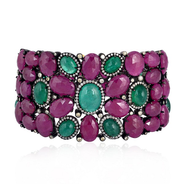 3.76ct Diamond Emerald Ruby Gemstone Bracelet 925 Silver Women Jewelry