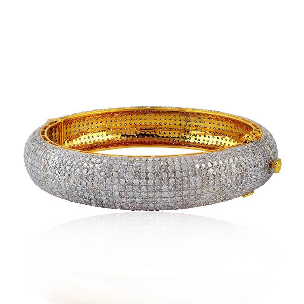 Natural 17.0ct Pave Diamond Bangle Bracelet Sterling silver Handmade Jewelry