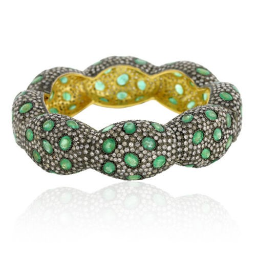 925 Sterling Silver Pave Diamond Emerald Designer Bangle Free Shipping