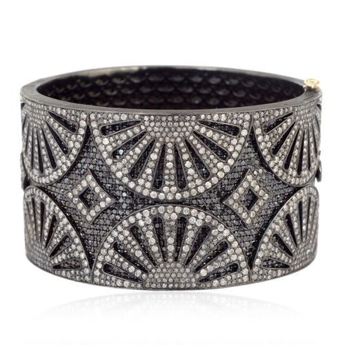 New Arrival !! 53.45ct Pave Diamond 925 Silver Bangle Jewelry