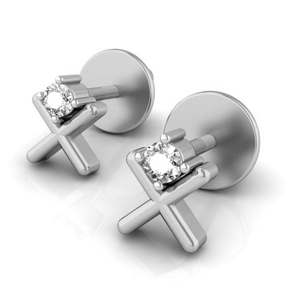 Diamond Earrings In White Gold 0.1 Ct Natural Diamond Solid Gold Office Wear