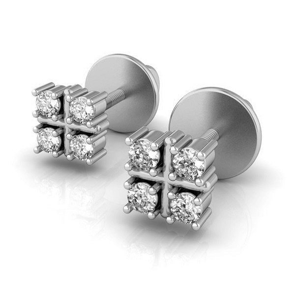 White Gold Diamond Earrings 0.12 Ct Solid Gold Occasion