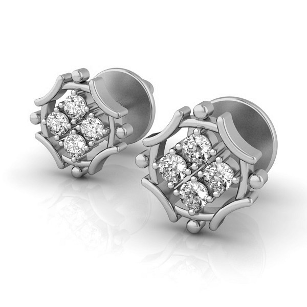 White Gold And Diamond Earrings 0.16 Ct Solid Gold Festive