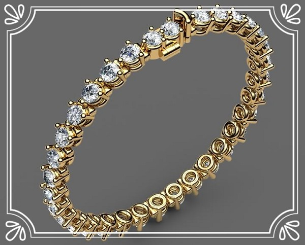 Diamond Tennis Bracelets 4.00 ct Solid Gold Natural Certified
