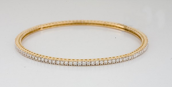 Eternity Bangle 2.50 ct Diamond 18k solid gold Natural Certified