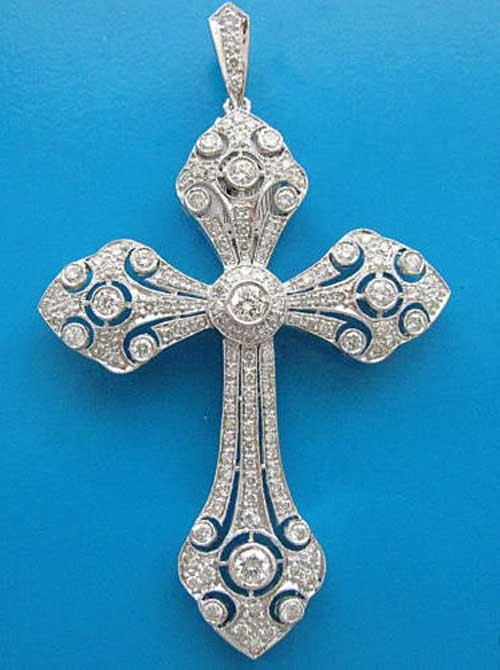 Religious Necklace 1.50 ct Diamond 18k solid gold cross Pendant Natural Certified