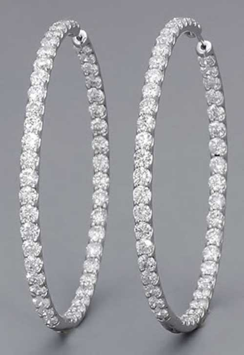 Large Hoop Earrings 4.00 ct Diamond 18k Natural Certified Solid gold Hot Deals Hot Deal s bali