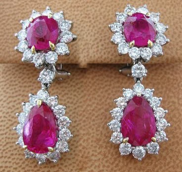 Gemstone Dangle Earrings 1.00 ct Diamond  Ruby 18k Natural Certified Solid gold Hot Deal