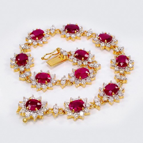 Tennis Bracelet Natural Diamond 2.50 ct 18k solid gold ruby Hot Deal Natural Certified