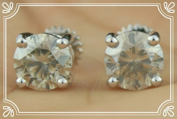 Diamond Solitaire Earrings 2.00 ct 18k Natural Certified Solid gold Studs  Hot Deal