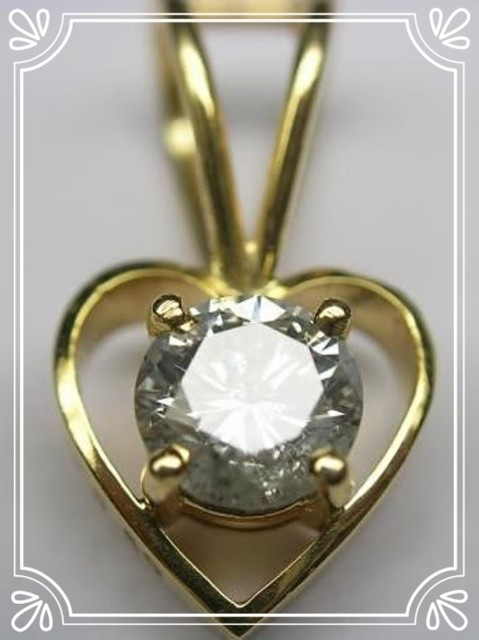 Diamond Necklace & Pendant 0.05 ct 18k Yellow gold Heart Shape Natural Certified