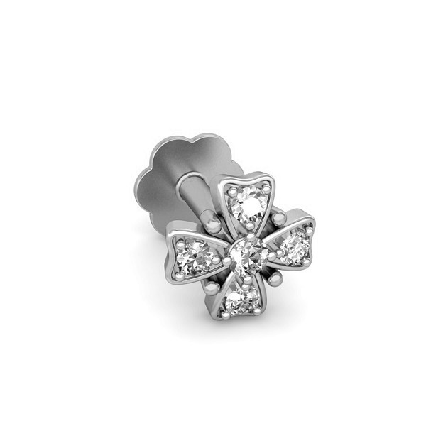 Solitaire Nose Stud 0.039 Ct Natural Diamond Solid Gold Festive