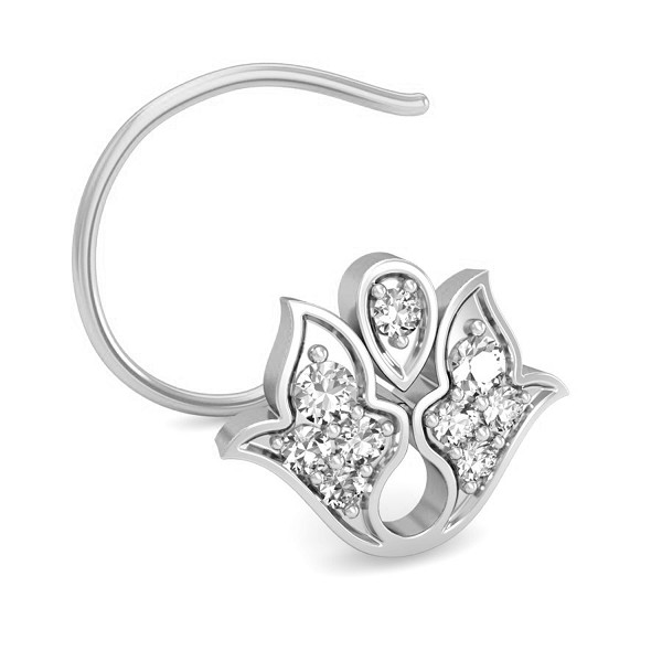 Solitaire Nose Ring 0.065 Ct Natural Diamond Solid Gold Office Wear