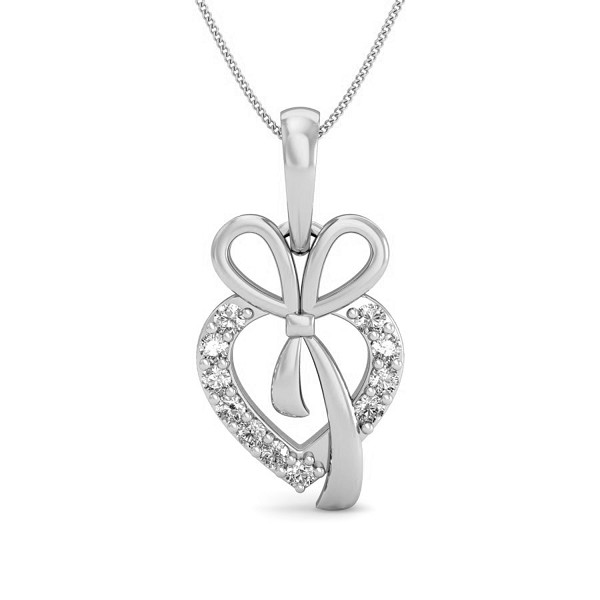 Heart Necklaces 0.08 ct Diamond Pendant Solid Gold Natural Certified