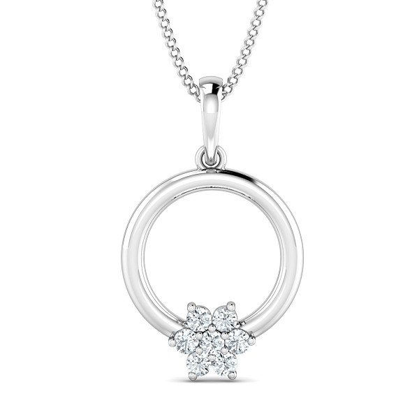 Diamond Necklace & Pendant 0.13 Ct Natural Certified Solid Gold Workwear
