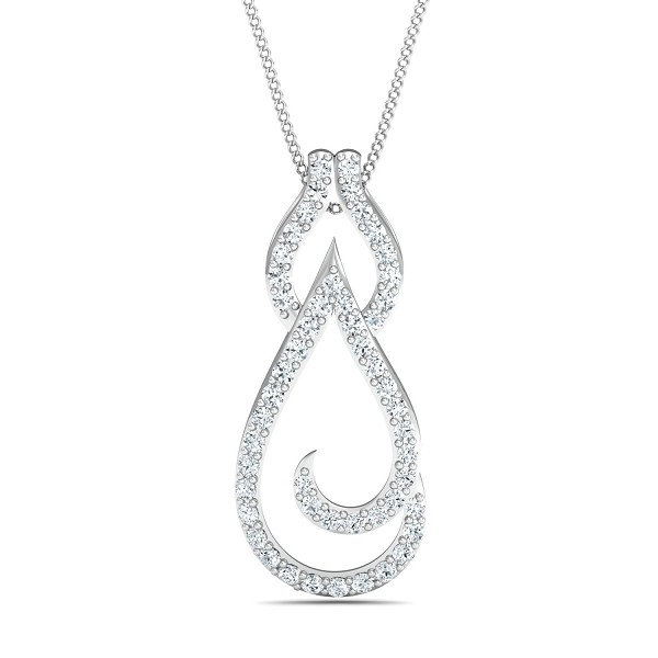 Diamond Pendant Necklace 0.55 Ct Natural Certifed Solid Gold Workwear