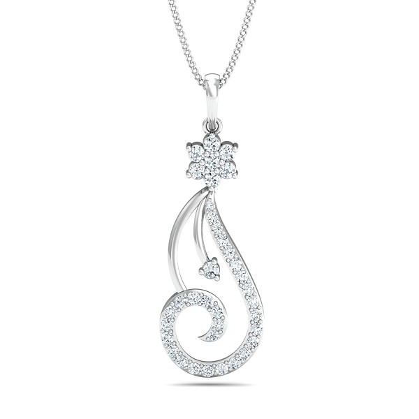 Diamond Necklace & Pendant 0.4 Ct Natural Certified Solid Gold Special Occasion