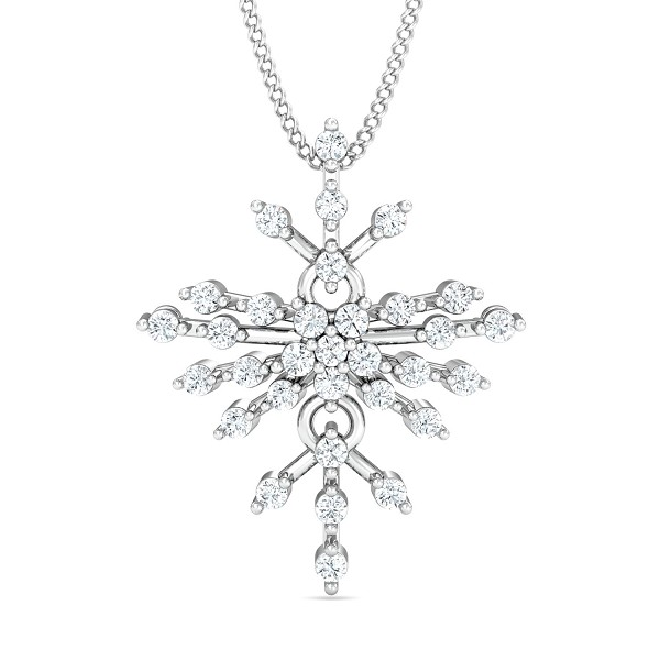 Gold Pendant Necklace 0.33 Ct Natural Certified Diamond Special Occasion