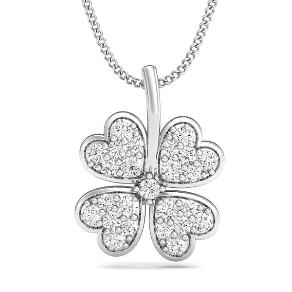 White Gold Diamond Pendant 0.3525 Ct Natural Diamond Solid Gold Special Occasion