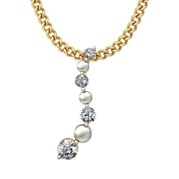Diamond Pendant Necklace 0.05 Ct Natural Diamond Solid Gold Workwear