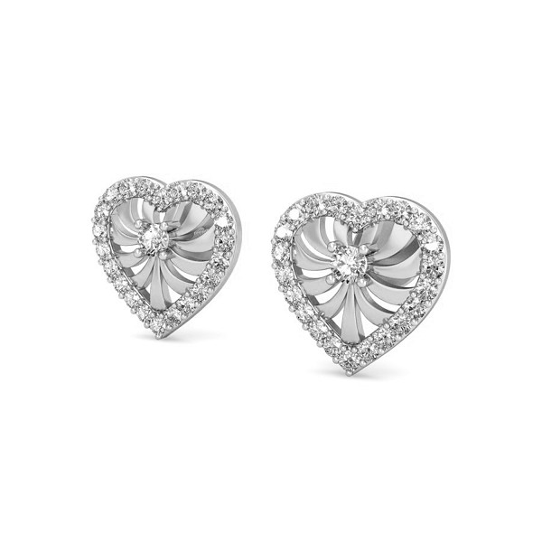 Heart Diamond Earrings 0.32 ct Natural Certified Solid Gold Studs