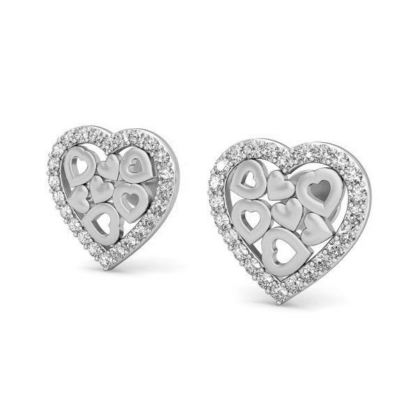 Gold Heart Earrings 0.29 ct Diamond Gift Your Love