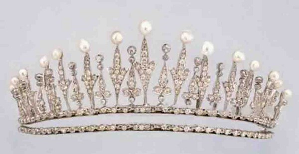 Wedding Tiaras Natural Certified Diamond Pearl 11.75 Ct Sterling Silver Headband