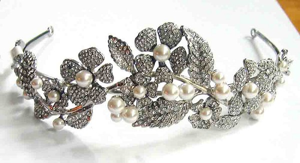 Bridal Headpieces Natural Certified Diamond Pearl 12.8 Ct Sterling Silver Antique Reprodcution