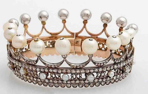 Princess Tiaras And Crowns Natural Certified Diamond Pearl 19.25 Ct Sterling Silver Headband