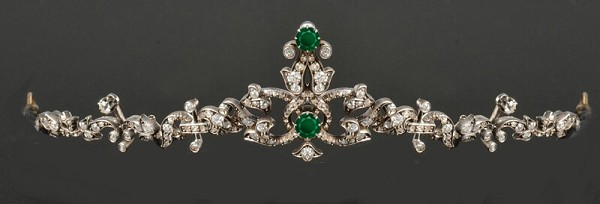 Bridal Hair Accessories Natural Certified Diamond Emerald 3.25 Ct Sterling Silver Brithday Tiara