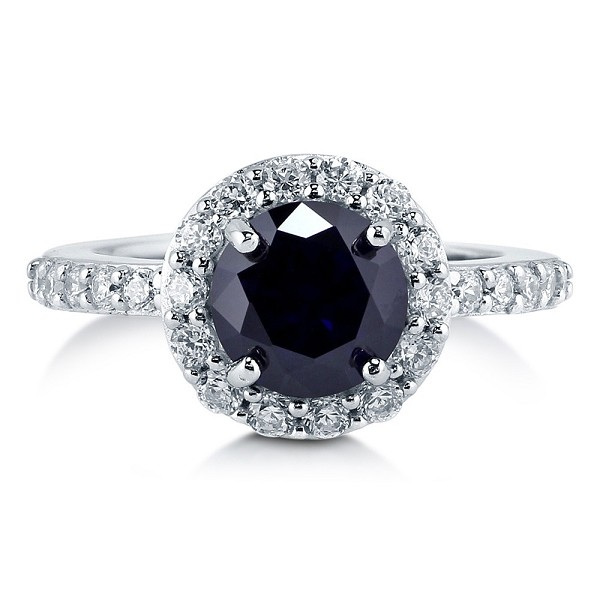 Black diamond Ring 2.00 Ct Black & White Round Solitaire Sterling Silver