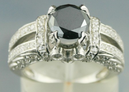 Cheap Black Diamond Engagement Rings 3.12 Ct Black & White Diamond Round Shape Sterling Silver Solitaire