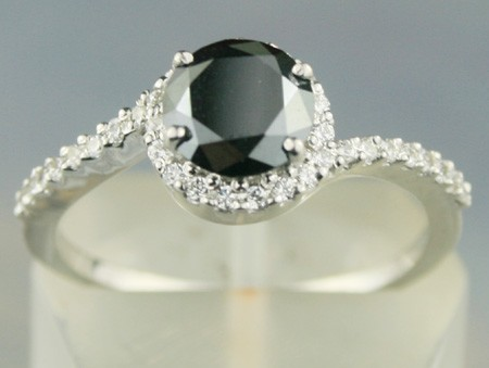 Black diamond Wedding Rings 1.41 Ct Black & White Diamond Round Shape Sterling Silver Solitaire
