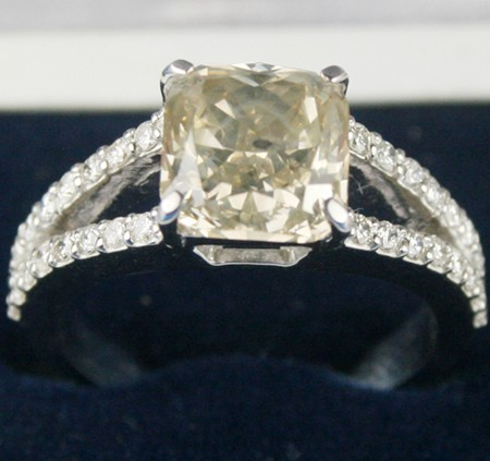 Colored Enagement Rings 1.50Ct Center 1.03Ct Cushion Cut 14K White Gold Wedding Natural Certified