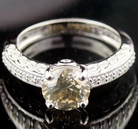 Color Diamond Engagement Rings 2.01Ct Center 1.67Ct Fancy Color Solid Gold Natural Certified