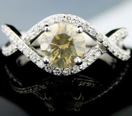 Color Diamond Engagement Rings 1.93 Ct Center 1.51Ct Eye Clean Fancy Color Solid Gold Natural Certified