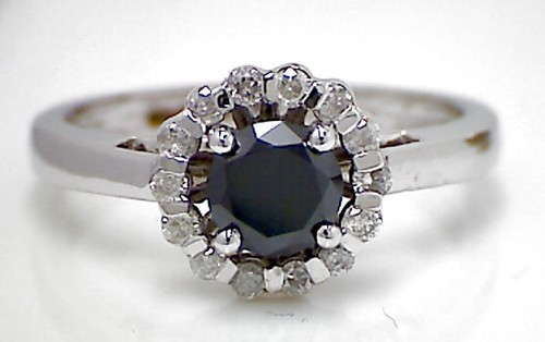 Black diamonds Ring 1.13 Carat Solitaire With Accents Solid Gold