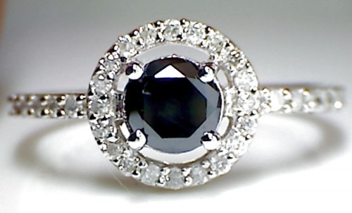 Enhanced Black Diamond 1.19 Carat Solitaire Diamond Ring Solid Gold