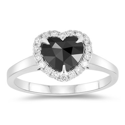 Black diamonds Ring 3.49 Carat Solitaire With Accent heart Cut Solid Gold