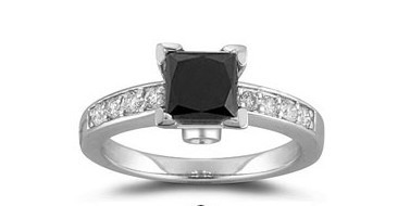 Black Stone 1.44 Carat  Solitaire With Accents Ring Princess Cut Solid Gold