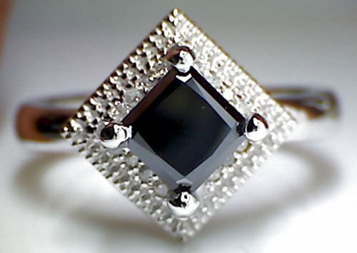 Artistry Black Diamond 1.23 Carat Princess Cut Solitaire Ring wz Accent Solid Gold