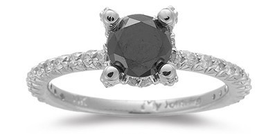 Cheap Black Diamond 1.42 Carat Solitaire Black Diamond Ring Solid Gold