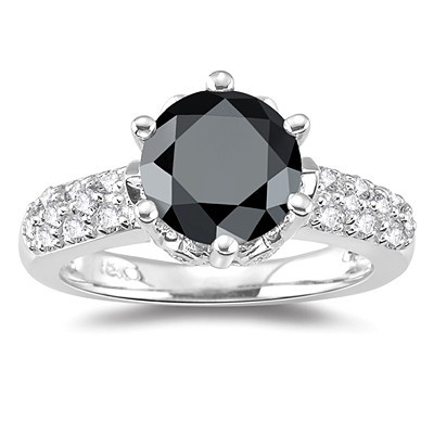 Black Diamond Rings 2.50 Carat Diamond Engagement Rings Solitaire Solid Gold