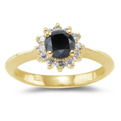 Artistry Black Diamond 1.24 Carat Solitaire With Accents Ring Solid Gold