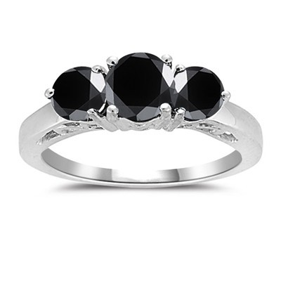 Cheap Black Diamond 3.26 Carat Diamond Engagement Rings Solitaire Solid Gold