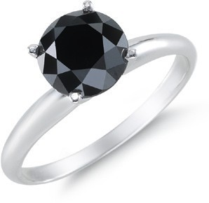 Black diamond Engagement  Rings 1.80 Carat Diamond Solitaire Round Shape Solid Gold