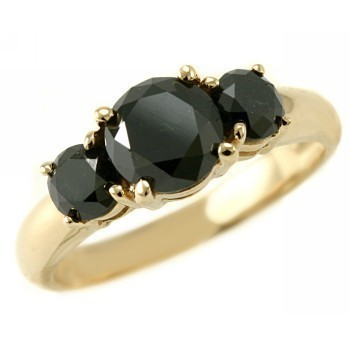 Black diamond Ring 3.40 Carat Black Solitaire With Accents Solid Gold
