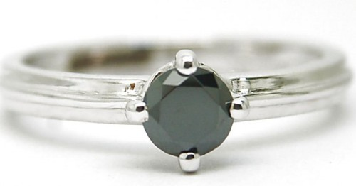 Black Stone 1.26 Carat Single Solitaire Ring For Anniversary Gift Solid Gold
